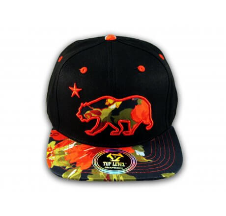 Red Flowers California Republic Bear Black Baseball Hat Snapback Cap