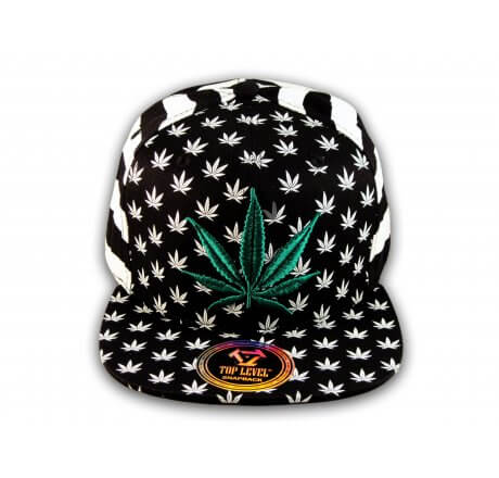 Black White Stripe Marijuana Pot Leaf Weed Cannabis Flat Bill Snapback