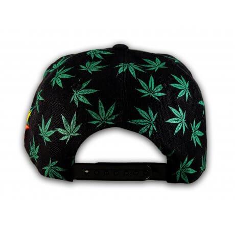 Black Rasta Marijuana Pot Leaf Weed Cannabis Flat Bill Snapback Cap