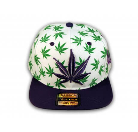 White with Purple Marijuana Pot Leaf Weed Cannabis Flat Bill Snapback