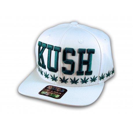 Kush White Flat Bill Snapback Cap