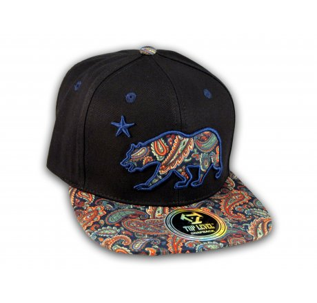4740e2faac6 Paisley on Black California Republic Bear Star Snapback Hat - Printed  T-Shirts