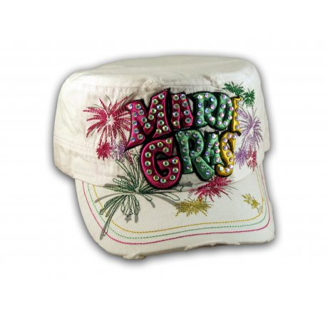 Raised 3D Mardi Gras on White Cadet Hat Military Cap