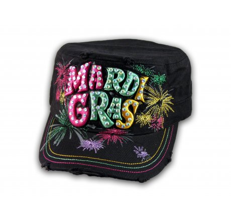 Raised 3D Mardi Gras on Black Cadet Hat Military Cap