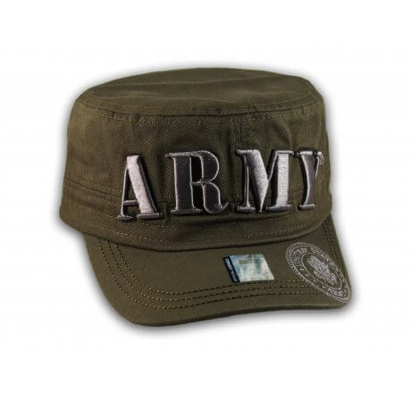 Raised 3D Silver Army on Olive Green Cadet Hat Military Cap