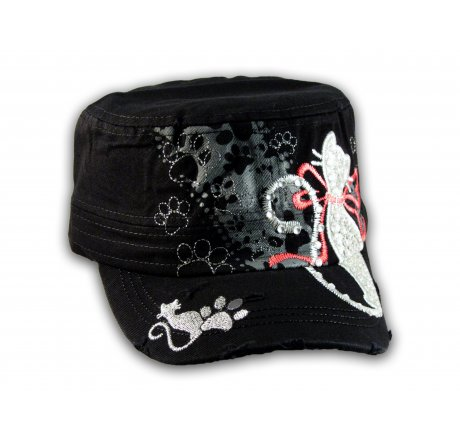 Embroidered Silver Cat on Black Cadet Hat Military Cap