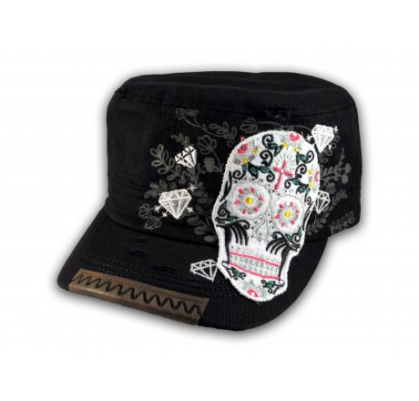 Sugar Skull on Black Cadet Hat Military Cap