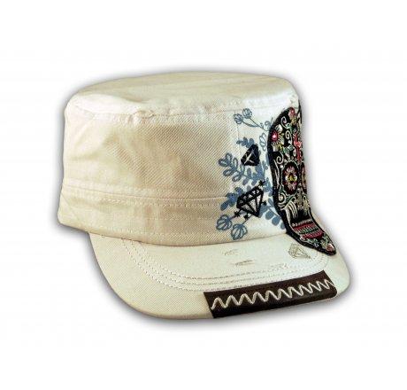 Sugar Skull on White Cadet Hat Military Cap