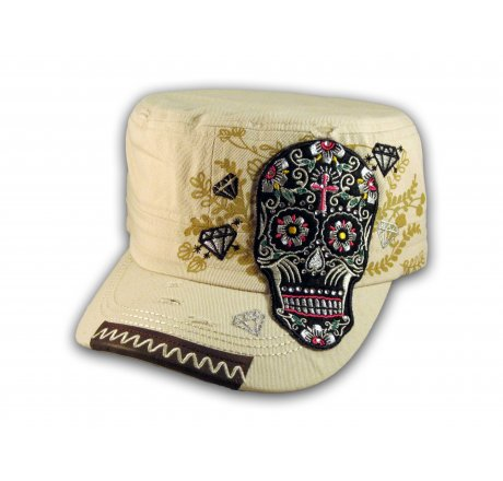Sugar Skull on Stone Color Cadet Hat Military Cap