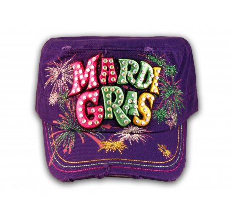 Raised 3D Mardi Gras on Purple Cadet Hat Military Cap