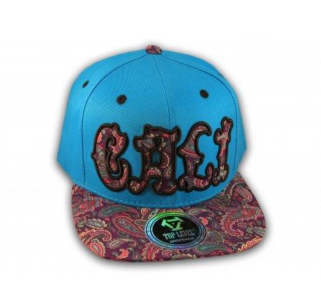 Cali Script Blue California Republic with Purple Paisley Snapback Hat