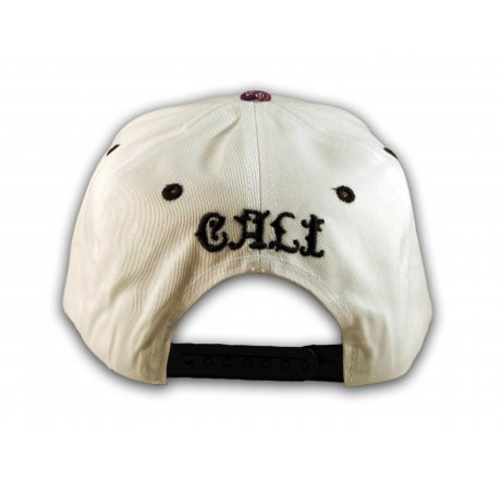 Cali Script White California Republic with Purple Paisley Snapback Hat
