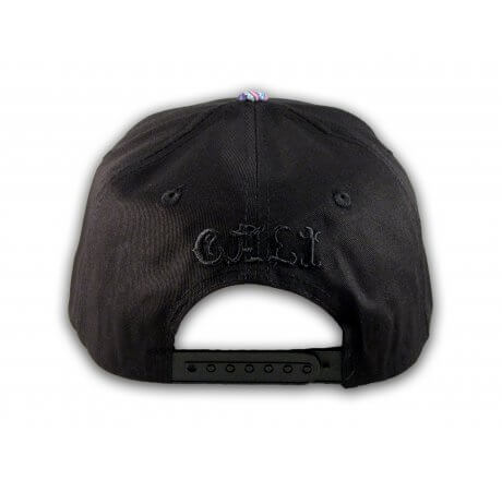 Cali Script Black California Republic with Purple Paisley Snapback Hat