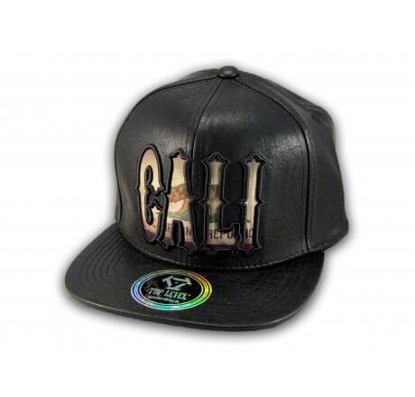 Cali Script Black Leather California Republic Snapback Hat