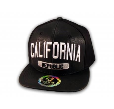 Black Leather California Republic Snapback Hat