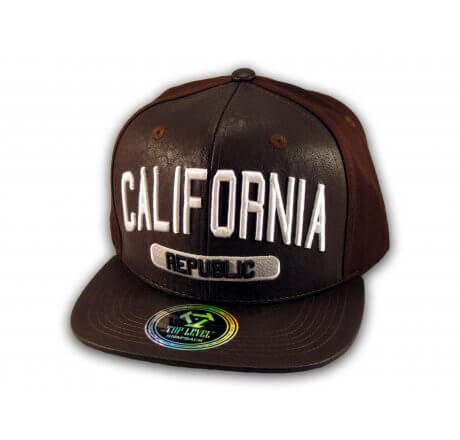 Brown Leather California Republic Snapback Hat