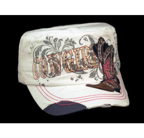Crystal Cowgirl & Cowboy Boots Distressed White Cadet Cap