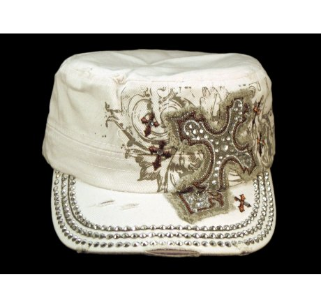 Crystal Cross Distressed White Cadet Cap