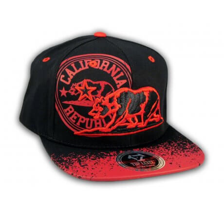 California Republic Bear Black-Red Flat Bill Hat