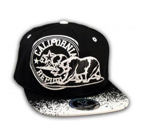 California Republic Bear Black-White Flat Bill Hat