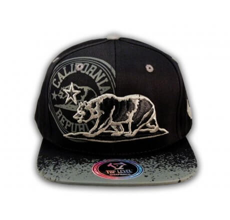 California Republic Bear Black-Gray Flat Bill Hat