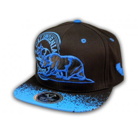 California Republic Bear Black-Blue Flat Bill Hat