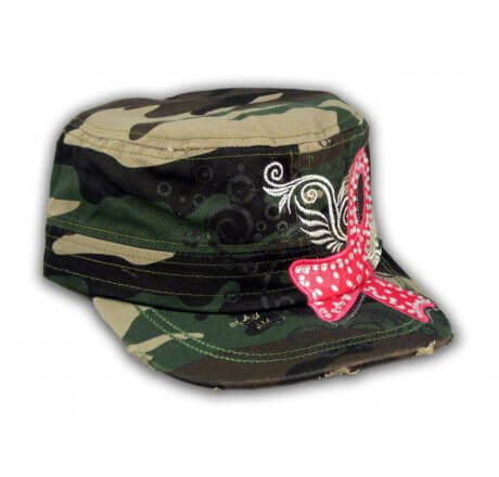 Camouflage Cadet Hat with Pink Cancer Ribbon
