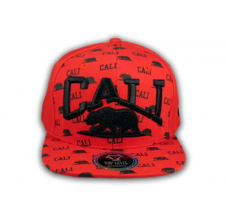 California Republic Bear Red and Black Flat Bill Hat