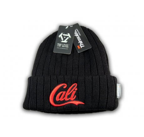 Super Soft Red Cali on Black Beanie Insulated with Thinsulate