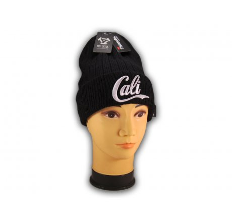 Super Soft White Cali on Black Beanie Insulated with Thinsulate
