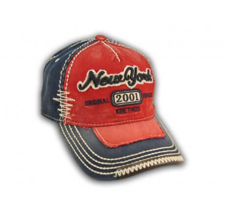Red on Blue Vintage New York Baseball Cap
