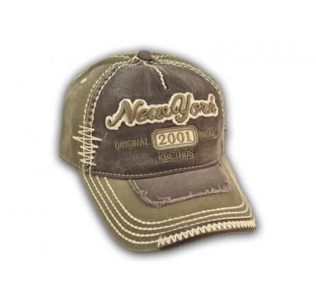 Dark Gray on Olive Vintage New York Baseball Cap