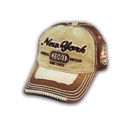 Khaki on Brown Vintage New York Baseball Cap