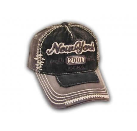 Black on Dark Gray Vintage New York Baseball Cap