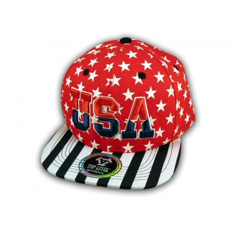 Red USA Star Spangled Snapback Hat