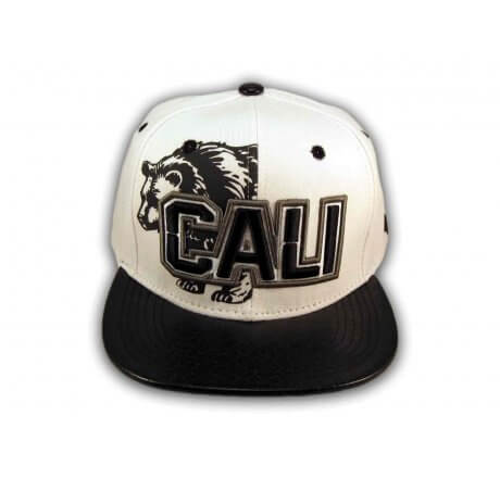 Black on White Cali Bear Snapback Hat