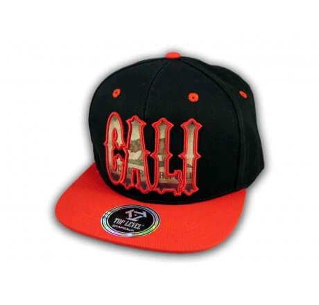 Red Cali Script on Black Republic Snapback Hat