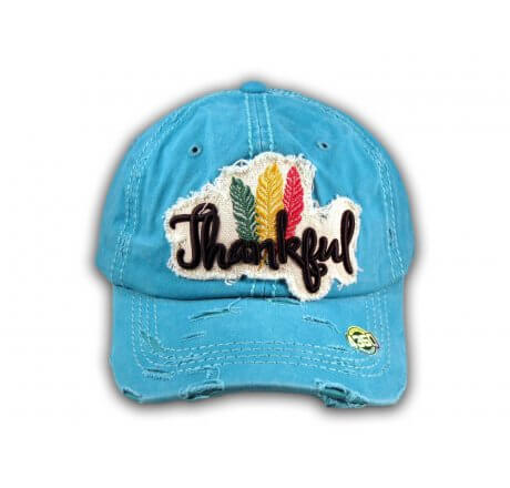 Turquoise Thankful Washed Baseball Cap