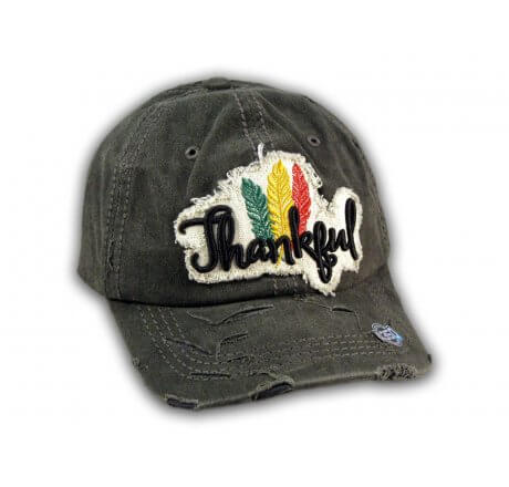Black Thankful Washed Baseball Cap
