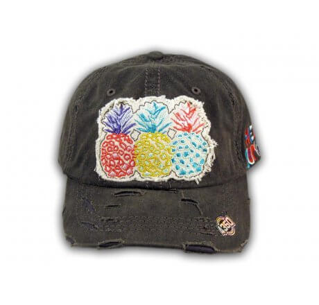 Black Pineapple Washed and Distressed Baseball Cap