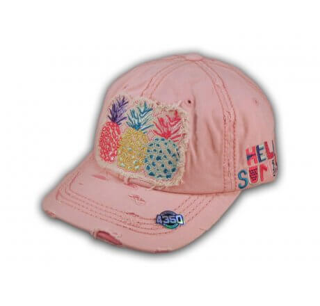 Pink Pineapple Washed and Distressed Baseball Cap
