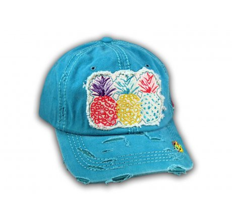 Turquoise Pineapple Washed and Distressed Baseball Cap