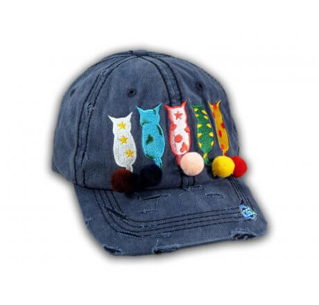 Navy Blue Cat Mom Washed and Distressed Baseball Cap