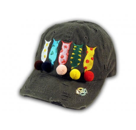 Black Cat Mom Washed and Distressed Baseball Cap