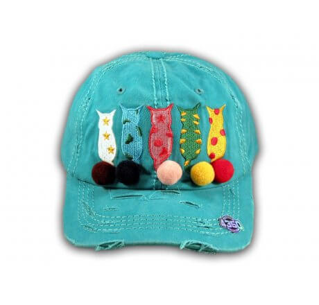 Turquoise Cat Mom Washed and Distressed Baseball Cap