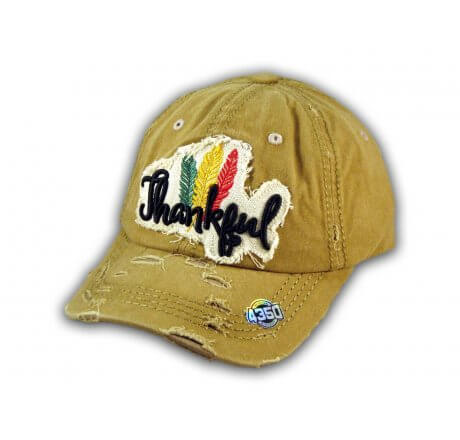 Khaki Thankful Washed and Distressed Baseball Cap