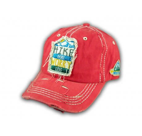 Coral Hike More Worry Less Washed and Distressed Baseball Cap
