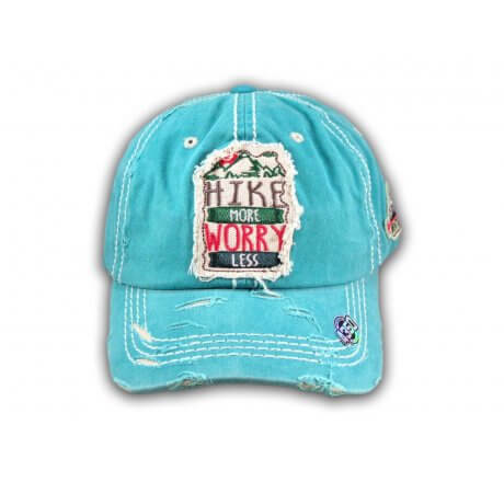 Turquoise Hike More Worry Less Washed and Distressed Baseball Cap