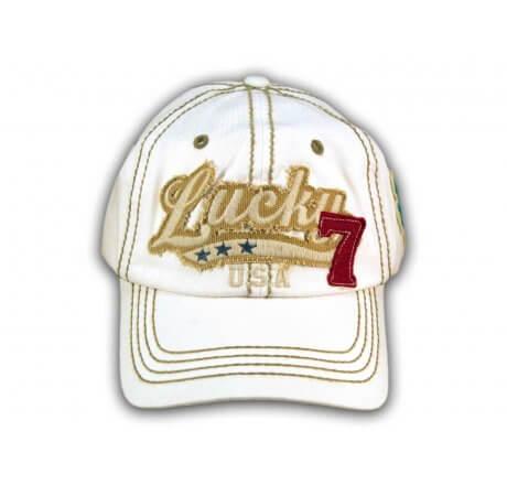 White Lucky 7 Baseball Cap