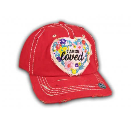 Red I Am So Loved Vintage Washed and Distressed Baseball Cap